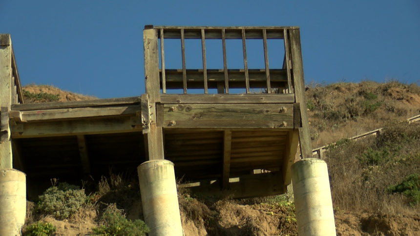 Stairs damaged by storm still in disrepair
